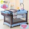 De múltiples funciones Plegable Cuna Portátil Cuna Juego de Cama Infantil cama de Bebé Cama Cuna Nueva Luz de Moda-Tubo de Aluminio De peso