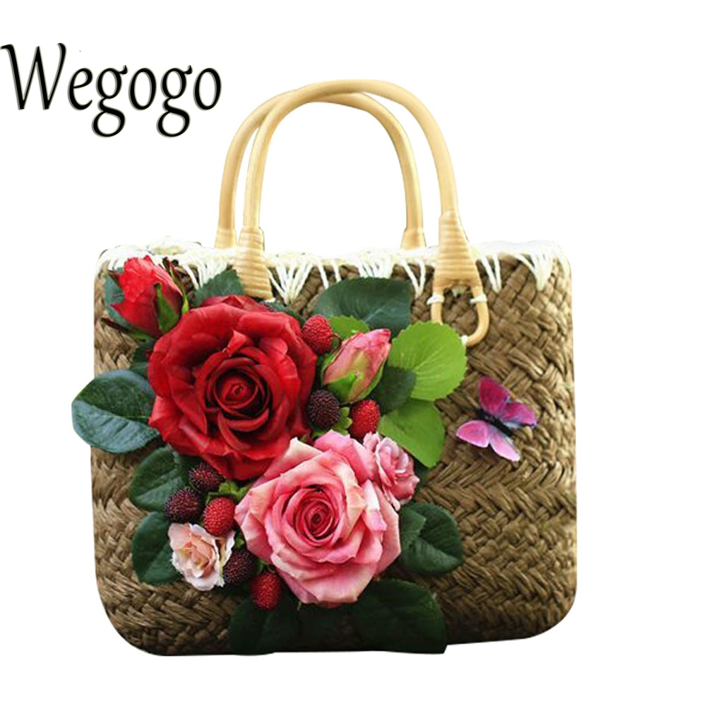Summer Straw Bag Retro Handmade Women's Holiday Bag Woven DIY Rose Flower Weaving Travel Beach Bohemian Boho Shoulder Bags handmade flower appliques straw woven bulk bags trendy summer styles beach travel tote bags women beatiful handbags