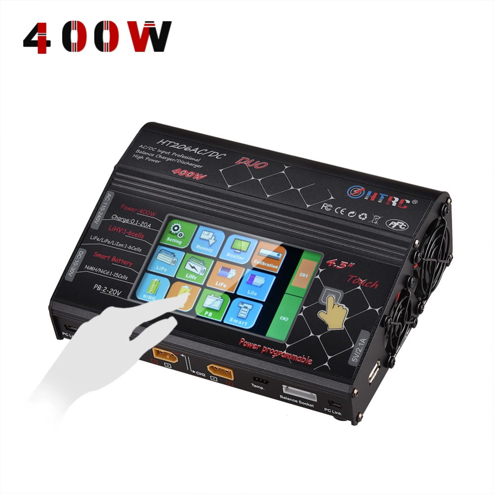 HTRC HT206 DUO AC/DC 200W*2 20A*2 Dual Port High Power Color Touch Screen RC Balance Charger for Lilon/LiPo/LiFe/LiHV Battery htrc ht400 ac dc 4 3 color lcd touch screen 400w 20a vertical balance charger discharger for 1 8s lilon lipo life lihv battery