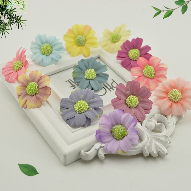Flowers For Wedding Gift: 10pcs Silk Daisy Sunflower Artificial Flowers Head Wedding