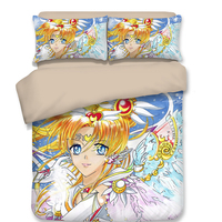 Sailor Moon white Bedding Sets Japanese Anime bedclothes Jewellery Luxurious Duvet Cover lovely full twin queen king size