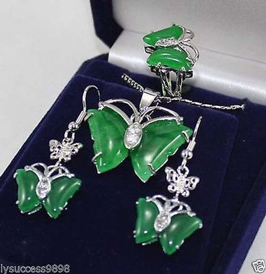 new Style Hot sale**** Set Pretty FINE butterfly green jade   pendant Necklace earrings ring Fashion Wedding Party Jewellerynew Style Hot sale**** Set Pretty FINE butterfly green jade   pendant Necklace earrings ring Fashion Wedding Party Jewellery