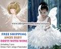 Blanco Disfraces infantiles de Navidad Hermosas Plumas del Ala Del Ángel Vestidos de Princesa para niña incluyendo Derss + alas De Hilo + Fascinator