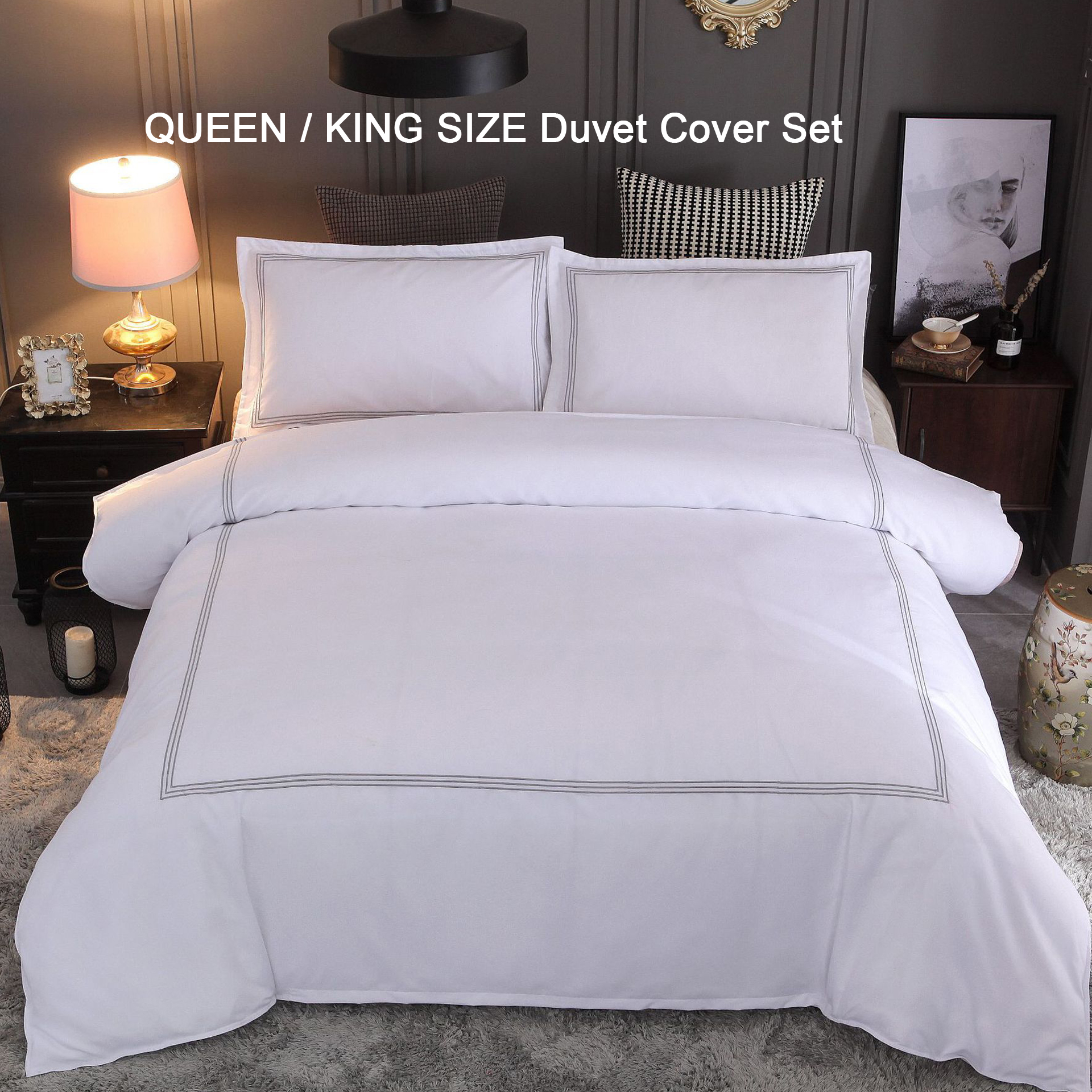 Soft Duvet Covers Us 45 9 49 Off Luxury Embroidery Polyester Soft Duvet Cover Set Queen King Size Simple Pure Color White Hotel Bedding Sets Duvet 2 Pillowcases In