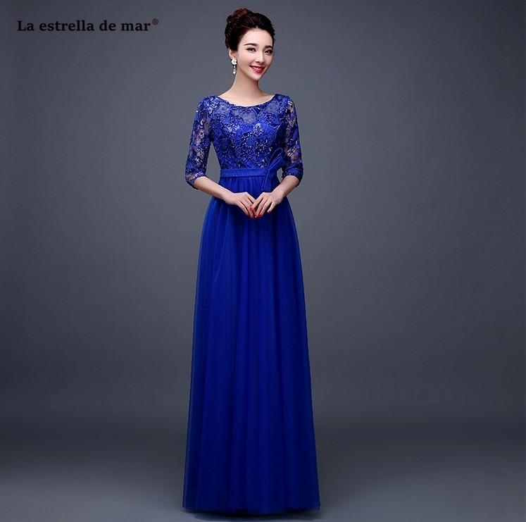 Robe demoiselle d'honneur2019 new Scoop neck lace chiffon Half sleeve A Line royal blue   bridesmaids     dresses   long plus size