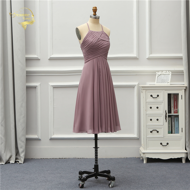 Elegant Halter Chiffon Knee Length Bridesmaid Dress