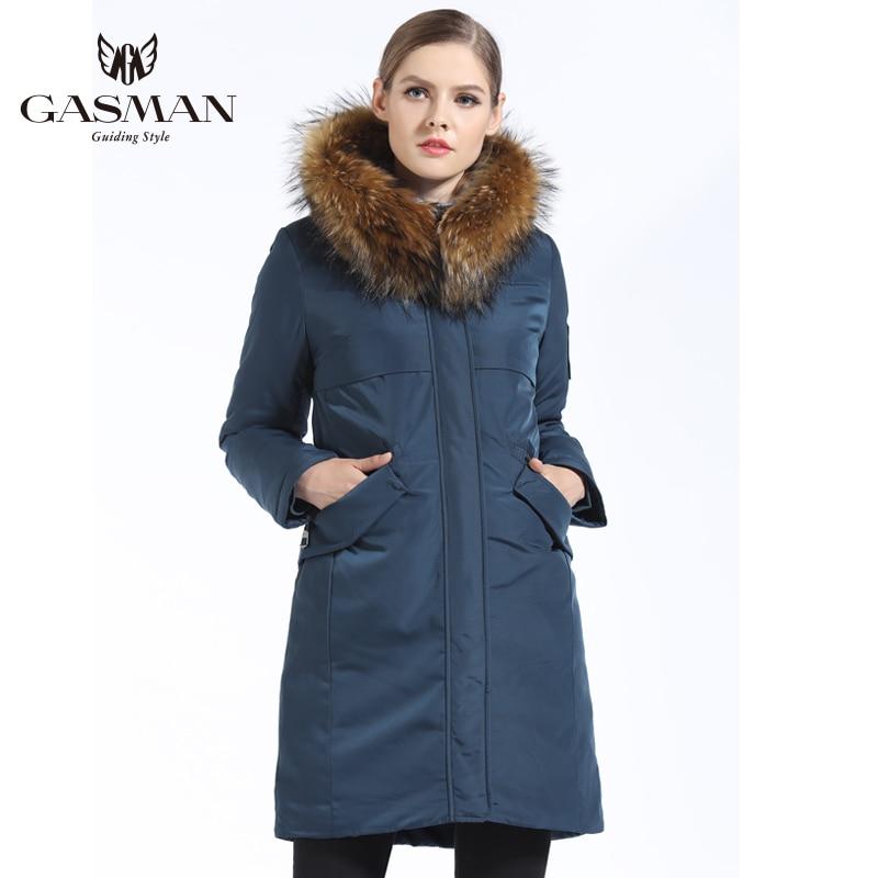GASMAN 2019 nueva colección de invierno Parka con capucha chaqueta cálida para mujer Parka acolchada abrigo invierno cuello de piel Natural mapache-in Parkas from Ropa de mujer    1