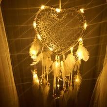 Dromenvanger Ловец снов Ловцы снов Любовь Сердце вечерние винтажные светодиодный светильник с перьями, ручной работы Настенный декор