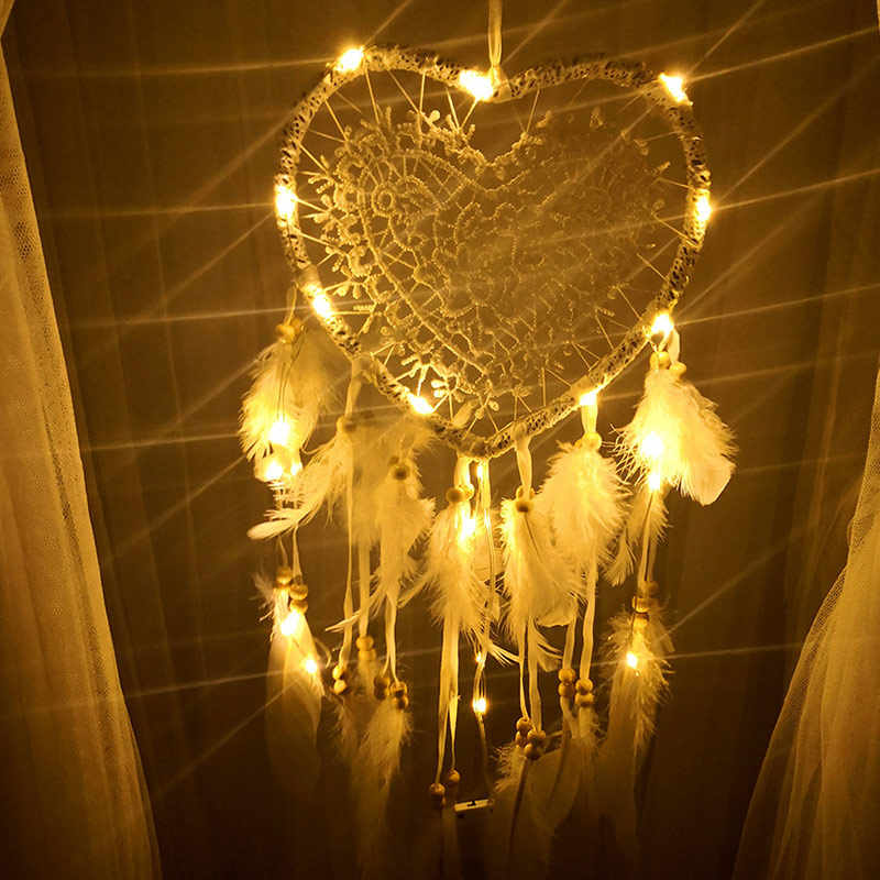 Dromenvanger Dreamcatcher Dream Catcher Love Heart Party Vintage LED Light Handmade