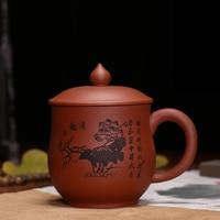 400 ML Yixing Lila Ton Teetasse Handgemalte Vintage Lotus Schwarz Tee becher mit Deckel Kit Roherz Zisha Kaffeetassen Geburtstagsgeschenke