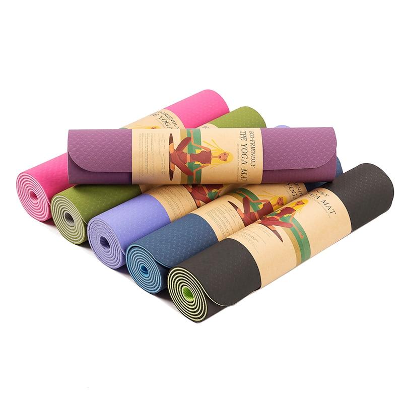 ①  6 мм TPE нескользящие коврики для йоги Фитнес безвкусно бренд пилатес Мат 8 цвет тренажерный зал упр ①