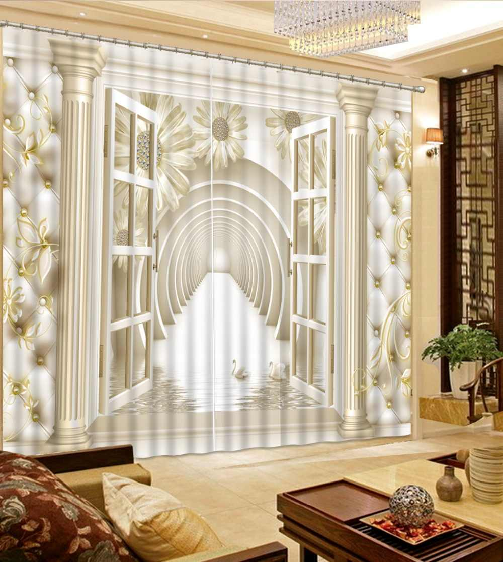 3D Curtains Home Windows Custom Curtains Photo Customize size Stereoscopic European soft bag Curtains