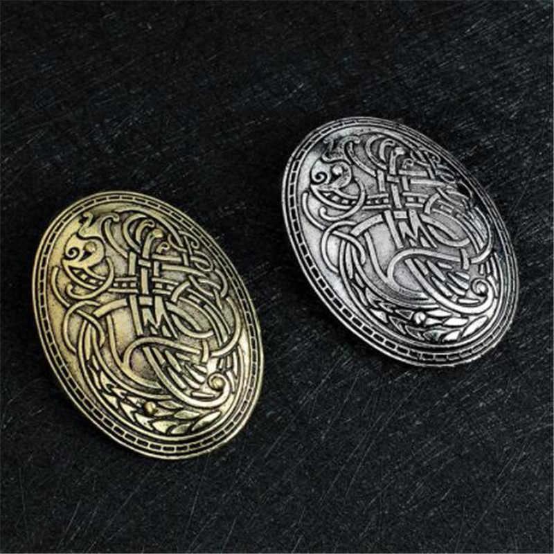 Wkoud viking eram lobo esculpido runa étnica paz broche totem emblema ouro prata cosplay broches de corsage jóias para mulher