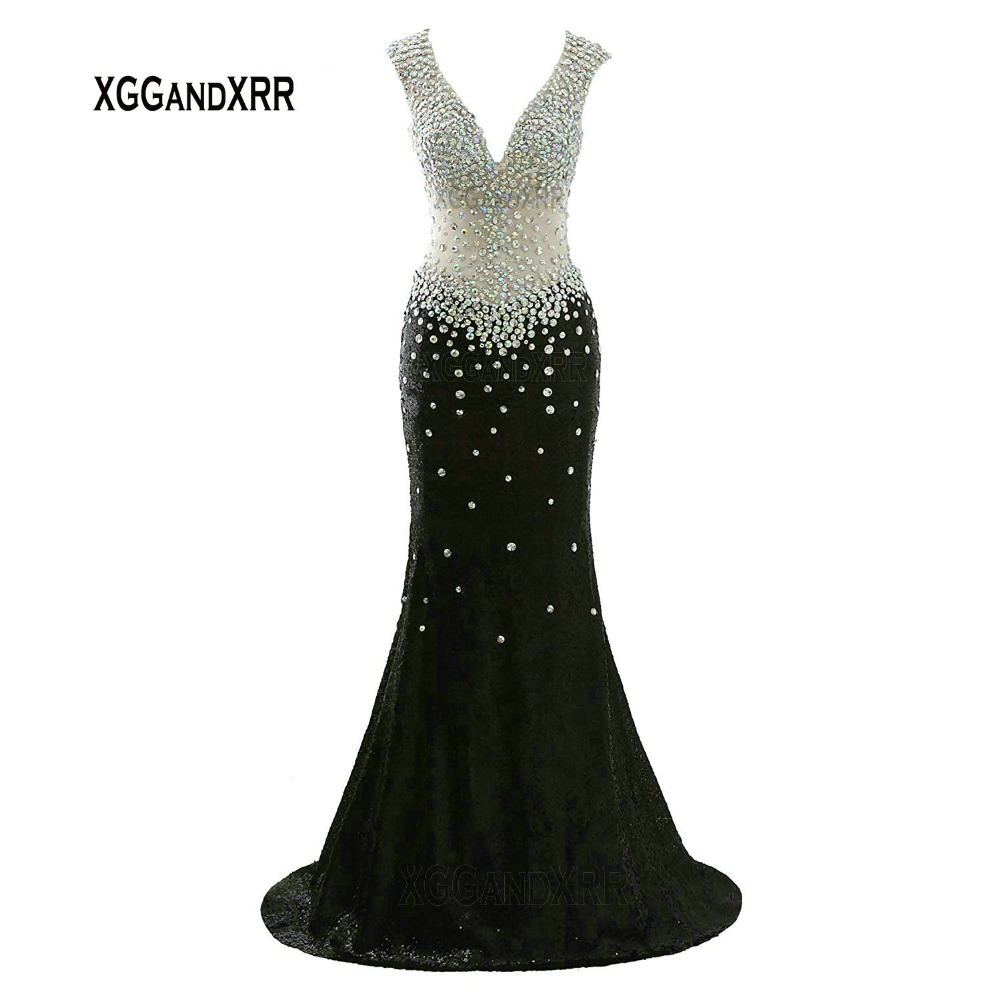 Elegant V Neck Long Black Prom Dress Sparkling Crystals Sequins Backless Long Evening Dress Red Formal