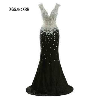 Elegant V Neck Long Black Prom Dress Sparkling Crystals Sequins Backless Long Evening Dress Red Formal Party Gown Hollow Back - DISCOUNT ITEM  20% OFF All Category