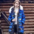 2016 novo casaco de inverno para baixo, mulheres de pele longos e grossos moda quente médio-longo para baixo outwear
