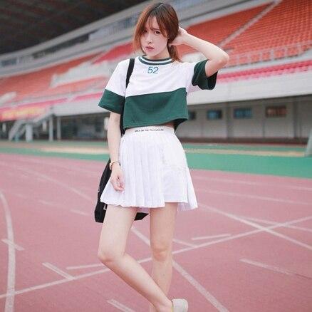 79f2f632dcb harajuku crop top 2018 korean style suit women set summer kawaii baseball  spell color shirt + pleated skirt 2 piece set women-in Women's Sets from  Women's ...