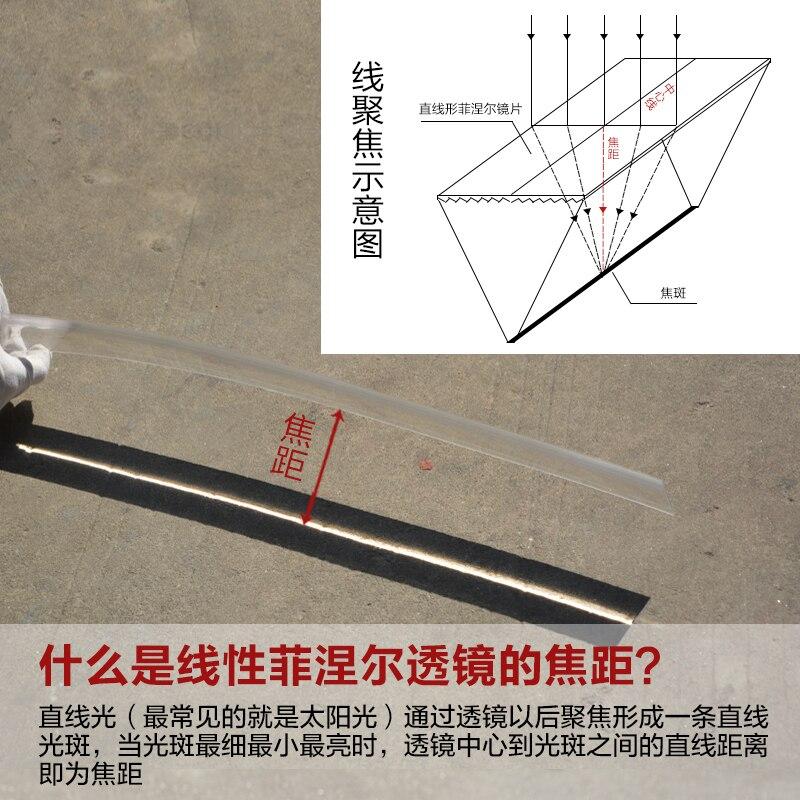 Grande loupe optique de plan de projecteur de lentille de Fresnel solaire linéaire en plastique de PMMA, longueur focale de concentrateur d'énergie solaire 300mm 1 PC