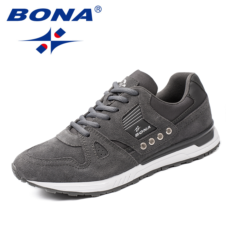 BONA New Classics Style Men Running Shoes Suede Men Athletic Shoes Lace Up Men Jogging Shoes Outdoor Sneakers Fast Free Shipping bona new classics style men running shoes mesh men athletic shoes lace up men outdoor sneakers shoes light soft free shipping