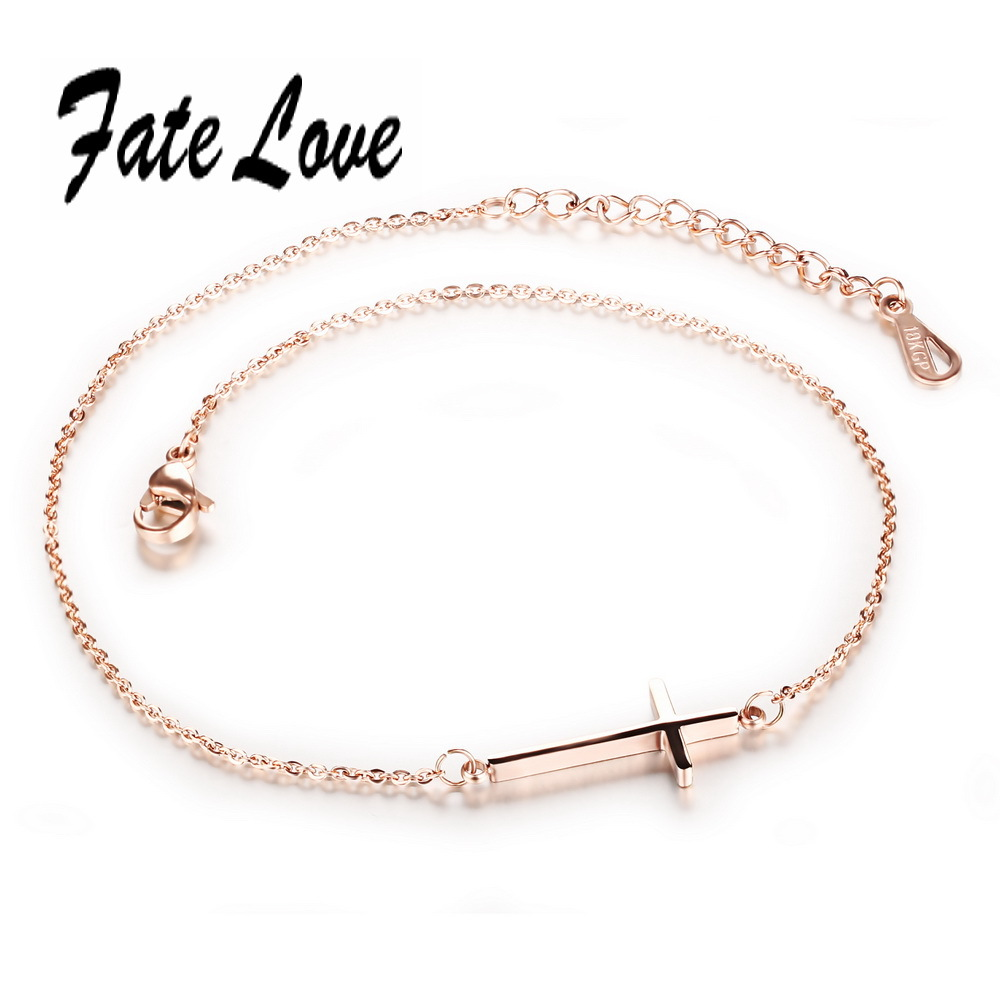 Fate Love Fashion Chain Link Beach Anklets Rose Gold Color Stainless Steel Cross Anklet Bracelet Foot Jewelry Woman Gift FL010
