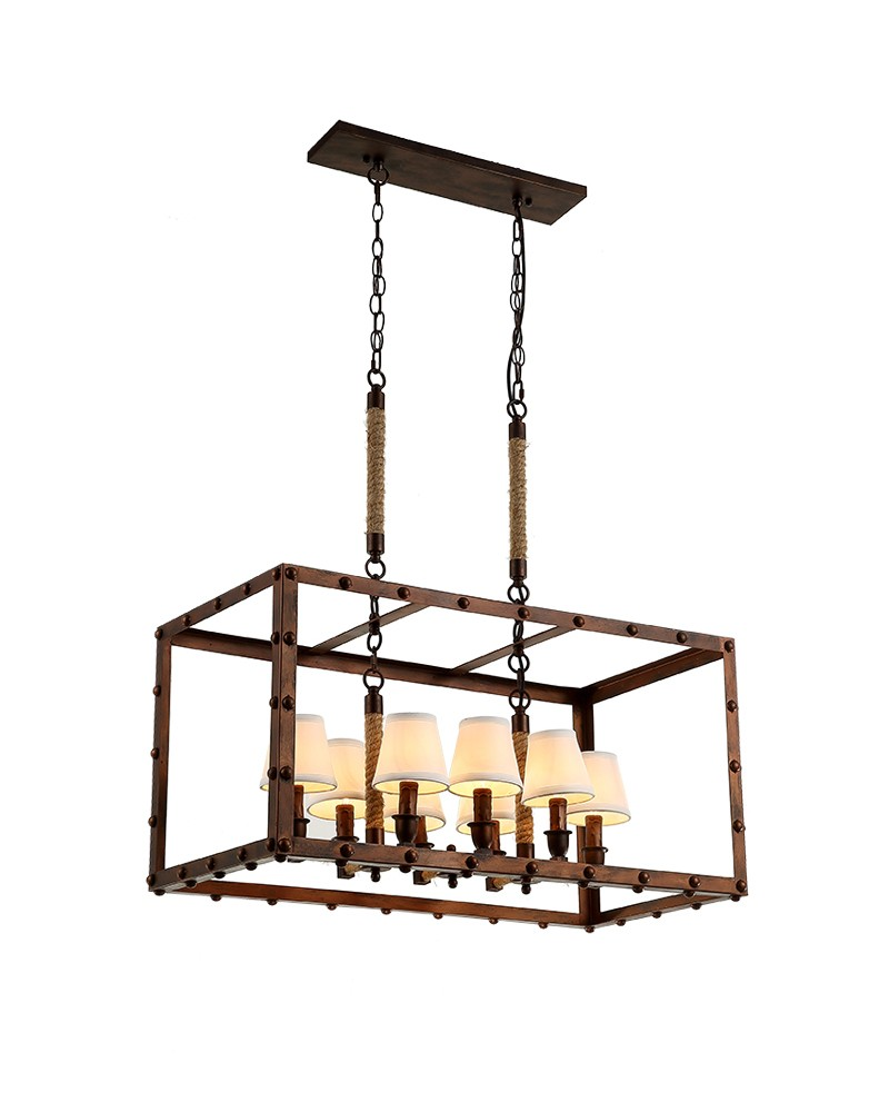 Vintage Industrial Iron Chandelier with Horizontal Rectangular Frame ...