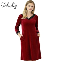 Queenplus Autumn Velour Nightgown Woman Winter Pleuche 3/4 Sleeve Warm Lady Nightdress Female Home Clothing Casual Sleep Lounge