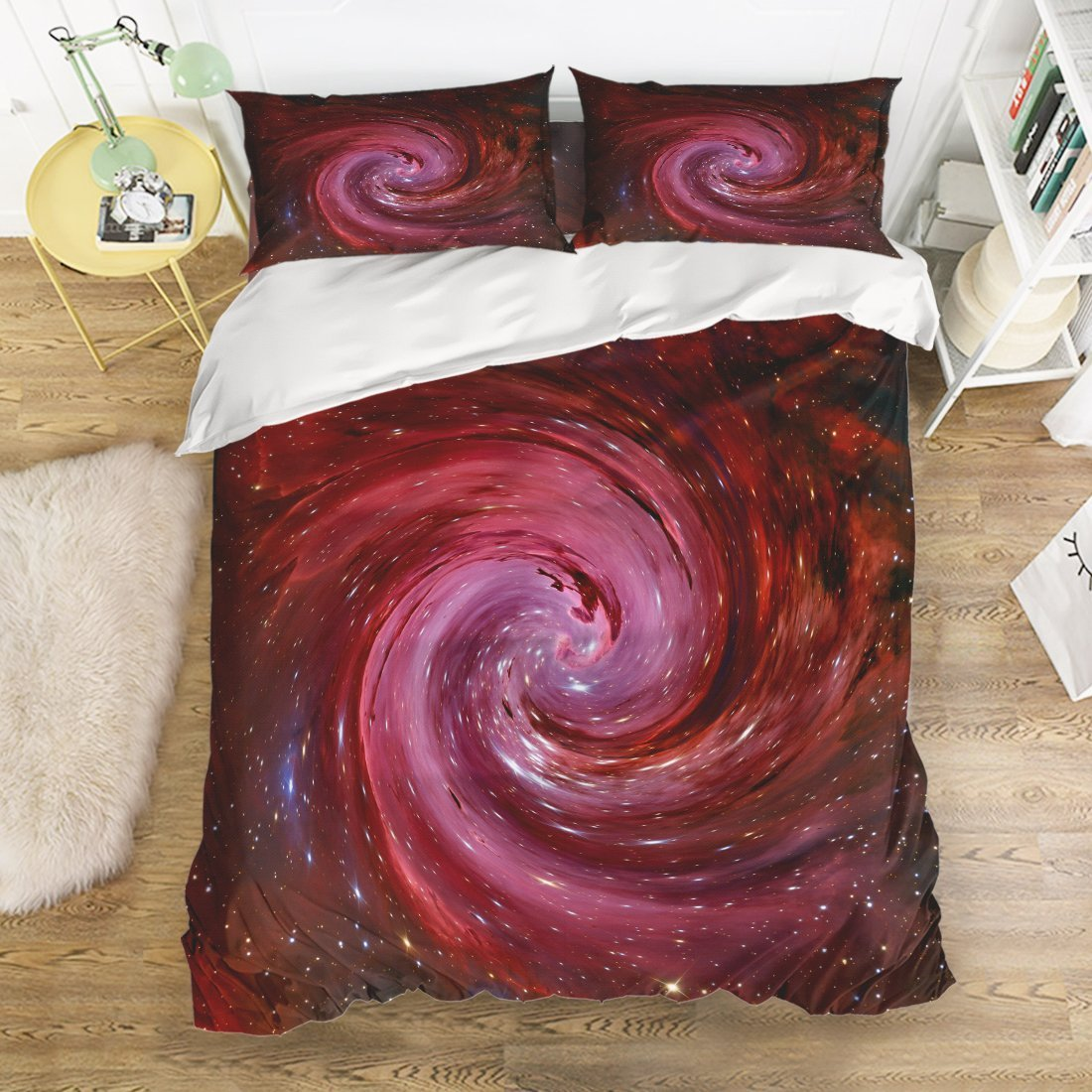 Family Comfort Bed Sheet Starry Vortex Sky 4 Piece Bedding Sets Polyester Duvet Cover HypoallergenicOversized Bedspread