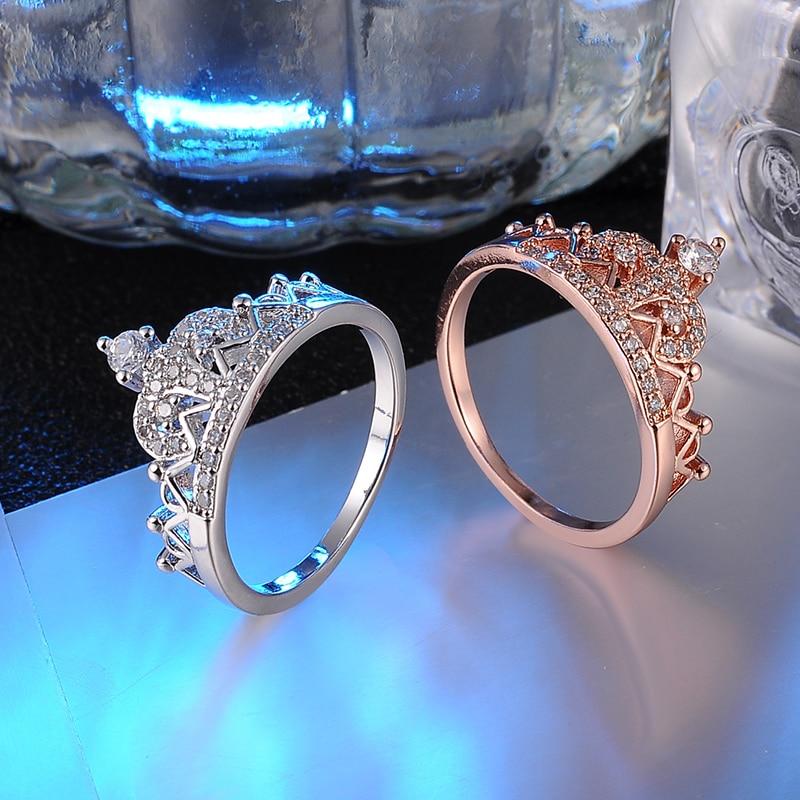Cubic Zirconia, Genuine SWA Stellux Austrian Crystal Princess Crown Rings
