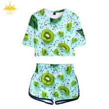 3D Kiwifruit Fruit Women Tshirt Shorts Suit Summer Pajamas Women's T shirt 2 Piece Set Kpop Sexy Crop Top Shorts Free Shipping
