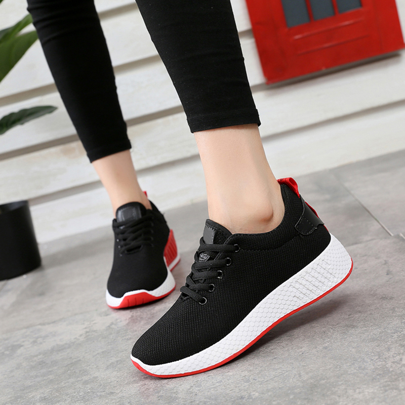 Women Shoes Lace Up Tenis Feminino Breathable Air Mesh Outdoor Casual Shoes Lightweight Woman Vulcanized Shoes