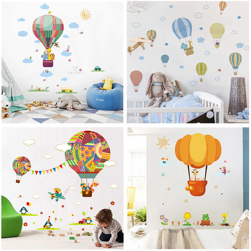 Cartoon Animals Hot Air Balloon Car Wall Stickers For Kids Rooms Home Decor Pvc Wall Decals Diy Mural Art Posters