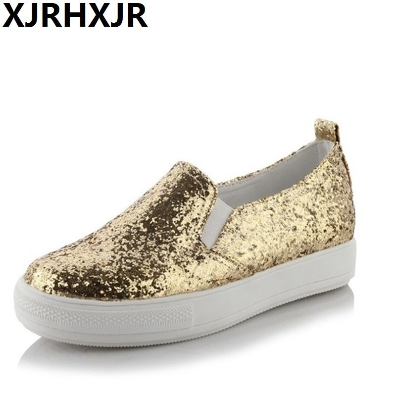2018 Shoes Women Platform Loafers Silver Sequined Cloth Slip on Flat Shoes Spring Autumn Woman Creepers Glitter zapatos mujer loafers shoes woman 2017 spring fashion gold black glitter flats women flat platform casual shoes ladies slip on shoes zapatos