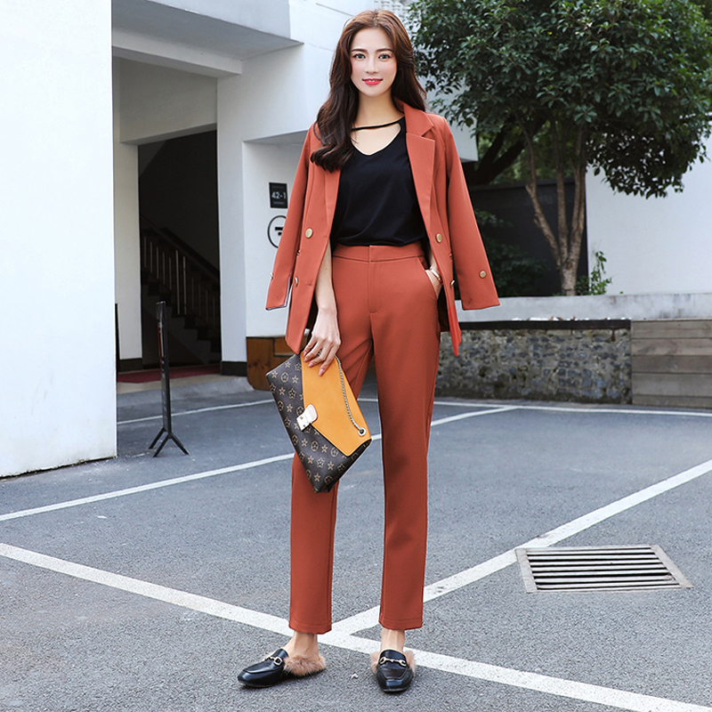 Fashion 2 Two Pieces Set Double Breasted Notched Collar Blazer and Long Pant Suit Women Casual