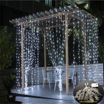 Memory Controller Christmas Garland LED Curtain String Light 220V 3M 300Leds  LED Party Garden Stage Outdoor Decorative Light 3w 30 led strobe rgb light christmas tree style decorative string light 220v 2 round pin plug