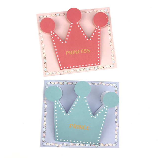 20pcs Pink Blue Prince Princess Crown Party Invitation Card Kids