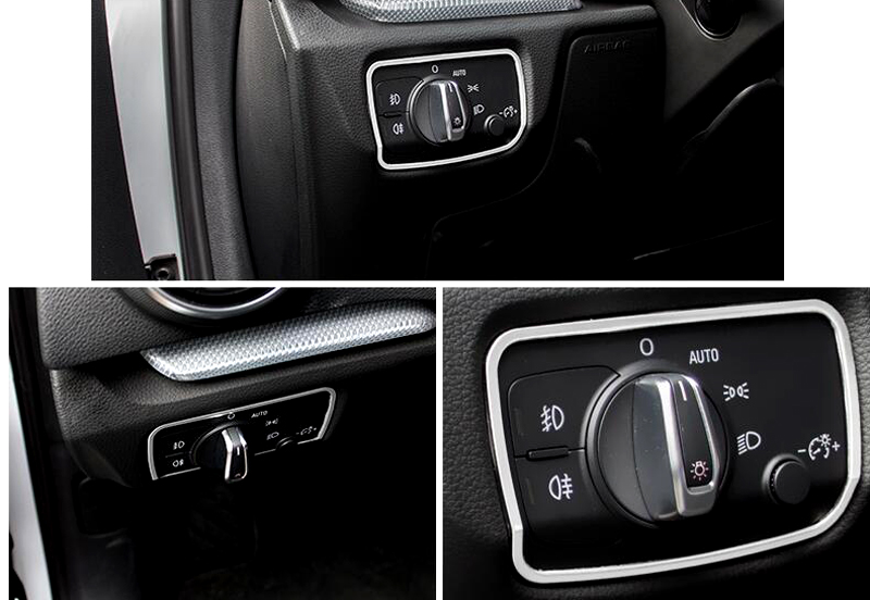 Steel Interior head light switch button cover trim 1pcs For Audi A3 8V 2012-2015
