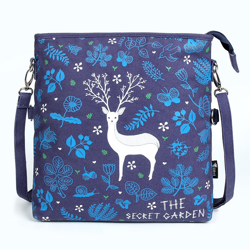 Women Messenger Bags Vintage Canvas Print Flowers Cartoon Satchel Shoulder Korean Style Girls Handbag Lady Bolsa Crossbody Bag