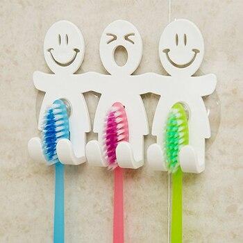 Sucção do banheiro Suporte de escova de dentes de 5 posições Suporte de parede em rack Engraçado sorriso Cara Toothbrush Stand Organizer 1