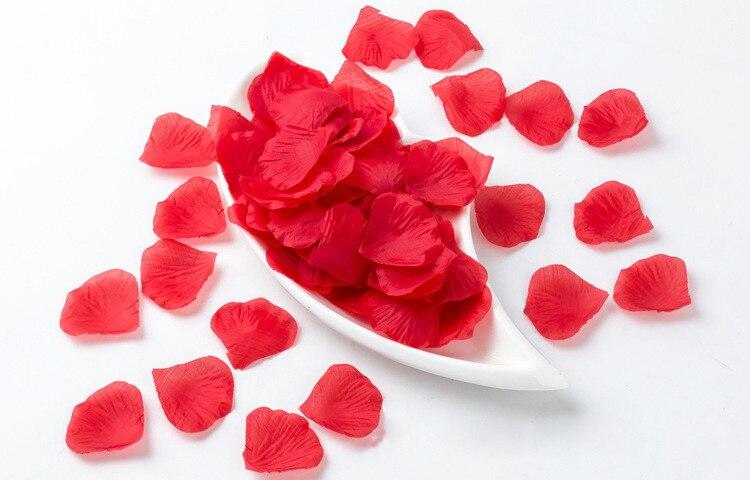 Red 500pcs / lot Artificial Silk Rose Petals Wedding Favor Party Decoration Flowers Petalas Carpet Weddings
