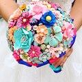Высшего Качества ручной работы Металлические Цветы Брошь Ювелирные Изделия Невесты Свадебное Свадебный Букет Цветочные деревня стиль Букеты