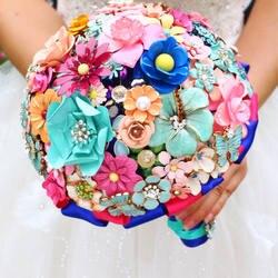 Высшего Качества ручной работы Металлические Цветы Брошь Ювелирные Изделия Невесты Свадебное Свадебный Букет Цветочные деревня стиль