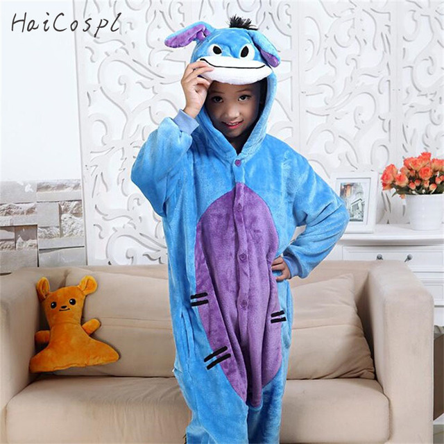 a1728748da99 Kids Blue Donkey Pajama Boys Girls Anime Cosplay Costume Kigurumi ...