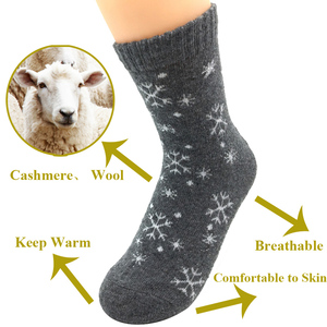 Image 5 - 5 Pairs/Lot Wool Socks Women Winter Snow Flower Pattern Cashmere Warm Socks Ladies Girls Christmas Gift