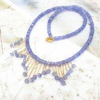 LiiJi уникальный Натуральный камень синий танзаниты золото заполнить кисточкой колье Цепочки и ожерелья для Для женщин хороший свадебный под