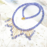 LiiJi Unique Natural Stone Blue Tanzanites Gold Fill Tassel Choker Necklace for Women Nice Gift Wedding Necklace