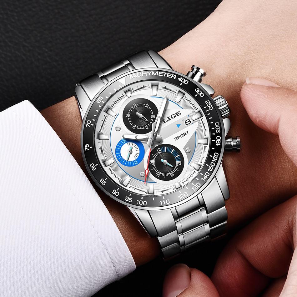 LIGE Fashion Men Watches Male Creative Business Chronograph Quartz Clock Stainless Steel Waterproof Watch Men Relogio Masculino