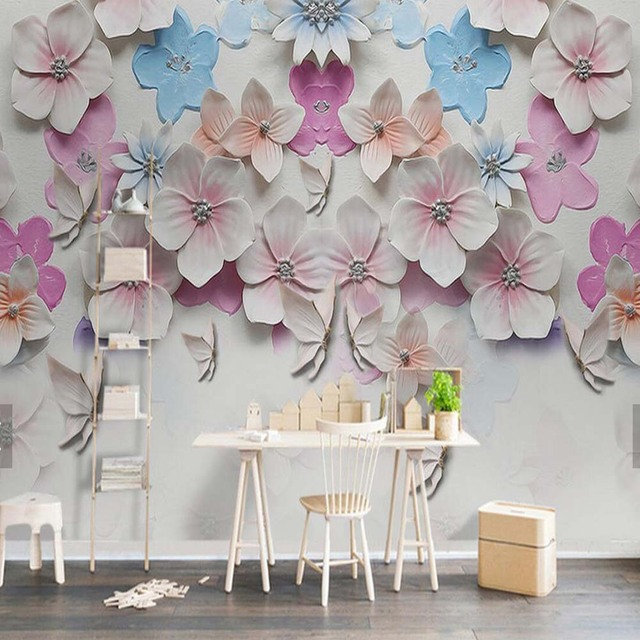 embossed peach blossom flower murals photo wall mural wallpaper home decor papier peint 3d wall. Black Bedroom Furniture Sets. Home Design Ideas