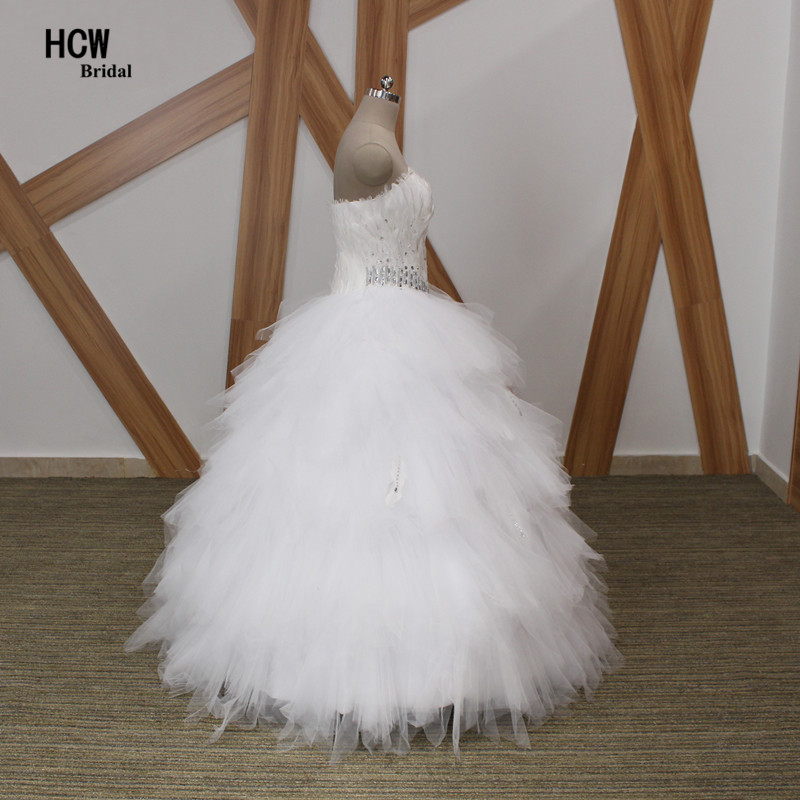 Unique Feathers Ball Gown Wedding Dress Strapless Off The Shoulder ...