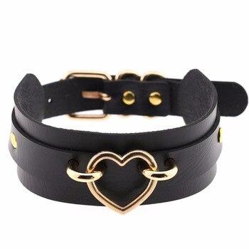 KMVEXO Collar de corazón de Metal Collar Maxi de mujer gargantilla Color dorado Punk arnés de esclavitud Collar de cuero joyas Vintage para declaración