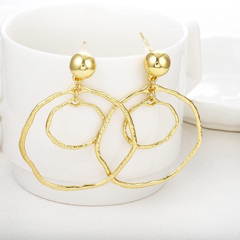 Простые модные геометрические большие круглые серьги золотого цвета с серебряным покрытием для женщин, модные большие полые висячие серьги, ювелирные изделия - Окраска металла: e0491